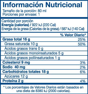queso crema light santa rosa informacion nutricional